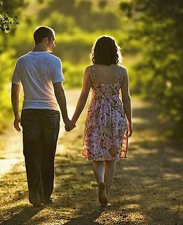 romantic couple walking away