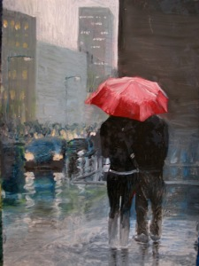 Couple in the rain, no_ 3   8 X 10  oil on paper